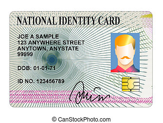 nacional, tarjeta de identidad, aislado