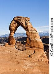 nacional, utah, parque, arcos, arco delicado
