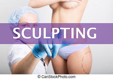 naciska, pojęcie, tworzenie sieci, technologia, doktor, medyczny, -, kosmetyczny, faktyczny, screens., powiększenie, rzeźbienie, internet, medycyna, operacja, guzik, podnoszenie, pierś