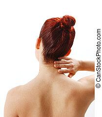 Nack pain - woman from the back showing neck pain
