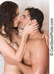 nackter mann, und, frau, liebe, ar, küssende , in, dusche