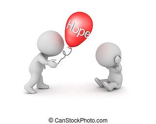 naděje, daný, ono, balloon, jiný, 3, vzkaz, charakter