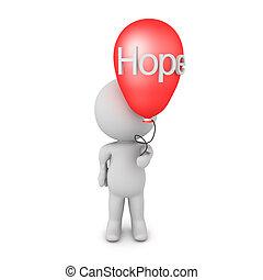 naděje, majetek, ono, balloon, 3, vzkaz, napsáný, charakter