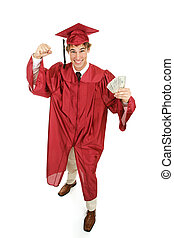 nadšený, hotovost, absolvent