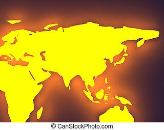 nadšený, -, mapa světa, asie