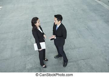nad, prospekt, od, asian handlowy, ludzie mówiące, do, każdy, inny.