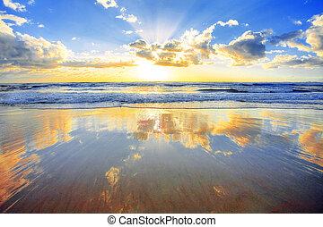 nad, východ slunce, oceán