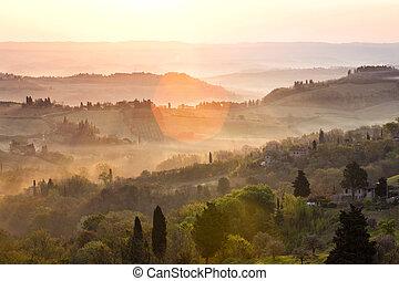 nad, vyvýšenina, východ slunce, tuscanian