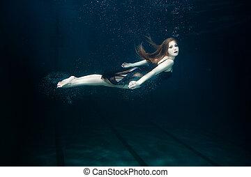 nada, mujer, underwater.