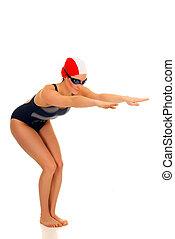 nadador, atleta, hembra