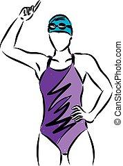 nadador, ganador, ilustración, vector, niña, gesto