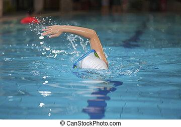 nadador, joven, piscina, natación