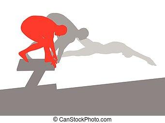 nadador, posición, para, salto, en, comenzar el bloque,...