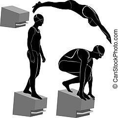 nadadores, atletas