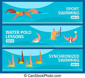 nadadores, desporto, illustration., jogo, piscina, teia, profissional, pessoas, bandeiras, apartamento, natação, vetorial