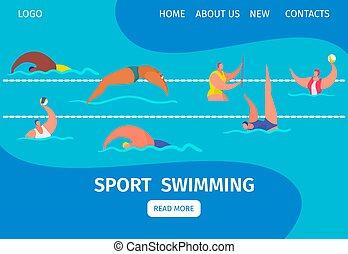 nadadores, desporto, nade, illustration., teia, piscina, caricatura, bandeira, profissional, pessoas, natação, vetorial