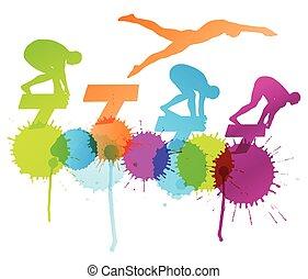 nadadores, resumen, joven, ilustración, agua, siluetas, vector, plano de fondo, activo, buceo, deporte, piscina, natación