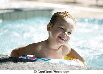 nade, aprende, plástico, agua, utilizar, anillo, niño