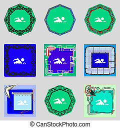 nade, buttons., conjunto, wave., símbolo., señal, vector, mar, icon., colorido, piscina, natación