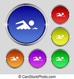 nade, conjunto, wave., símbolo., señal, botones, vector, mar, icon., colorido, piscina, natación