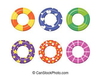 nade, jogo, coloridos, anéis, isolado, experiência., branca, ícone