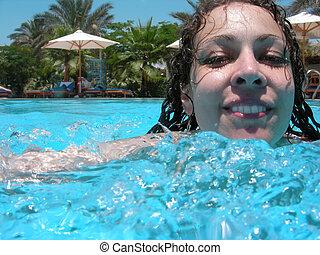 nade, niña, piscina