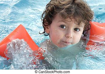 nade, niño, aprendizaje