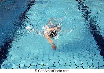 nade, pasatiempo, arrastre, nadador