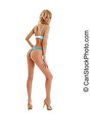 nadel-auf, blond, in, blaues, damenunterwäsche, #2