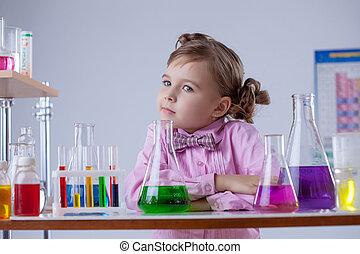 nadenkend, chemie, het poseren, meisje, stand
