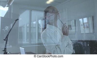 nadenkend, vrouw, gezien, door, een, glas venster