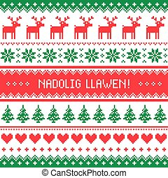 Nadolig Llawen   Merry Christmas In Welsh Greetings Card, Seamless Pattern