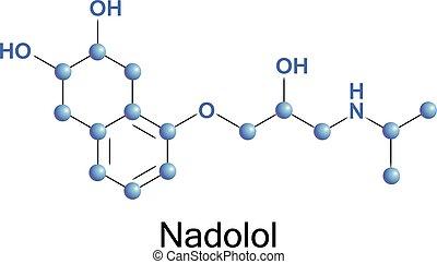 nadolol molecule - chemical formula of nadolol, a vector...