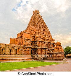 nadu, hindu, indien, brihadishvara, tempel, tamil, turm,...