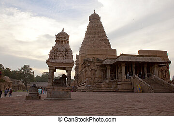 nadu, uno, sites., thanjavur, brihadeeswarar, india., herencia, mundo, tamil, templo