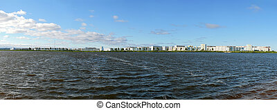 Nadym, Russia - July 18, 2008: the panorama of the city on the r