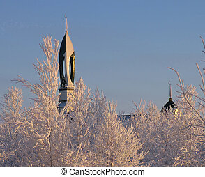 NADYM, RUSSIA - NOVEMBER 20, 2006: Mosque closeup.