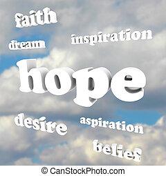 nadzieja, słówko, w, niebo, wiara, wiara, wdychać, aspiracje