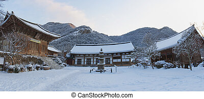 Naesosa temples in south korea, winter landscape