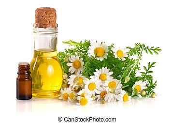nafta, świeży, odizolowany, białe tło, istotny, kwiaty, chamomile, butelka