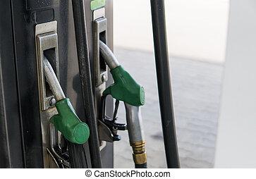 nafta, barwny, służba, do góry, benzyna, próbka, dysza, diesel, energy., gaz, armata, benzyna, aptekarz, pompa, zielony, zapas, opał, zamknięcie, station., style., brudny