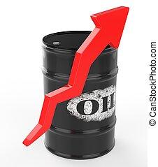 nafta, baryłki, z, czerwona strzała, do góry.