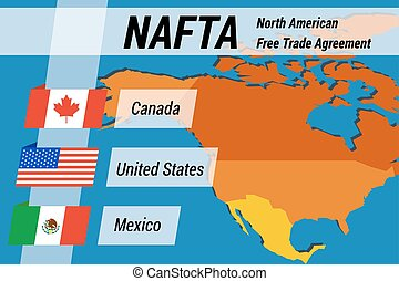 NAFTA concept with flags and map
