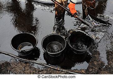 nafta, czysty, surowy, brudzić, do góry