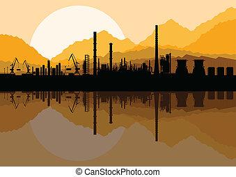 nafta, fabryka, ilustracja, rafineria, przemysłowy, zbiór, ...