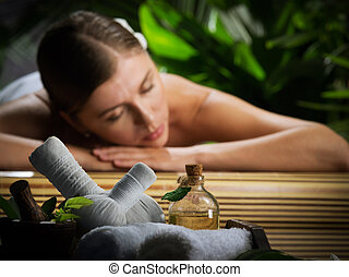 nafta, fragment, młoda kobieta, environment., masaż, zdrój, piękny