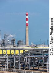 nafta, krajobraz, factory., poddawanie procesowi, przemysł, gaz