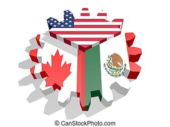 3d rendering of north american free trade agreement nafta clip nafta members national flags north american free trade agreement platinumwayz