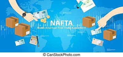 nafta, norte-americano, comércio livre, acordo