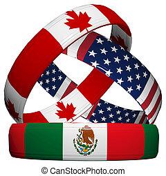 NAFTA - North American Free Trade Agreement, three symbolic...